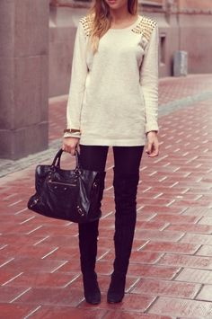 Winter white + black.