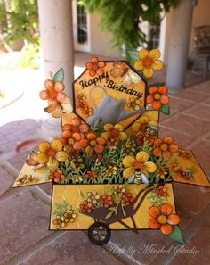 My Rubber Therapy box pop-up card garden flower orange Yellow Card In A Box, Pop Up Box Cards, 3d Cards, Paper Cards, Card Kit, Card Boxes, Box Cards Tutorial, Card Tutorials, Heartfelt Creations