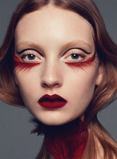 Codie Young by Satoshi Saikusa for S Moda. Rim of fire - fiery lashes and lips.