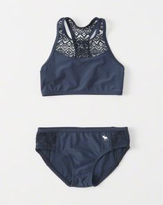 kids lace-panel high-neck two-piece swimsuit Bathing Suits For Teens, Summer Bathing Suits, Cute Bathing Suits, Bikinis For Teens, Kids Swimwear, Mix And Match Bikini, Kids Suits, 2 Piece Swimsuits, Abercrombie Kids