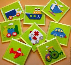 """Купить Развивающая игра из фетра """"Транспорт"""" - салатовый, игровой набор, развивающие игры, набор карточек"""