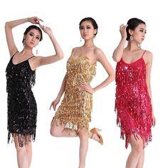 Latin Salsa Tango Ballroom Dance Dress Tassel Sequins Skirt 6 Colors #HANDMADE