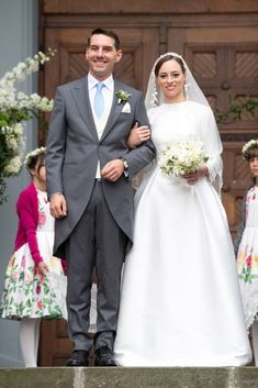 Prince Nicholas of Romania and Princess Alina of Romania leave after their wedding at Sfantul IIie church on September 2018 in Sinaia, Romania. (Photo by David Niviere/Getty Images) Royal Wedding Gowns, Royal Weddings, Bridal Gowns, Wedding Bible, Marriage Dress, Royal Crowns, Wedding Bouquets, Wedding Dresses, Royal Brides
