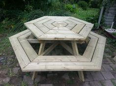 Build Yourself a Picnic Table with One of These 13 Free Plans: Free Hexagon Picnic Table Plan by Ana White