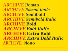 Archive typeface  – Colophon