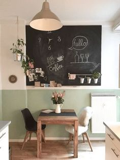 Visiting friends - The fabulous world of the Amelie - Dining room / kitchen with . , Visiting friends - The fabulous world of the Amelie - Dining room / kitchen with . Visiting friends - The fabulous world of the Amelie - Dining room. Amelie, Green Kitchen Walls, Room Kitchen, Dining Chairs, Dining Room, Black Chalkboard, Inspiration Wall, Wooden Tables, Home Furnishings