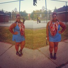 quayla_venezuela's photo on Instagram. Thrifted. Denim romper. Skort. Dots tribal scarf. Forever 21 caged sandals. Natural hair. Plus size.