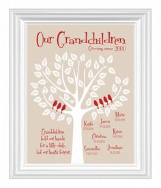 Grandchildren Family Tree with grandkid's birth dates - Personalized Grandparent Gift - Gift for Parents -Christmas Gift - other colors Diy Christmas Gifts For Parents, Christmas Gifts For Grandchildren, Toddler Christmas Gifts, Gifts For Family, Holiday Gifts, Christmas Diy, Mom Family, Christmas Presents, Holiday Ideas