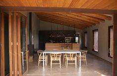 Concrete floor, chairs, folding door