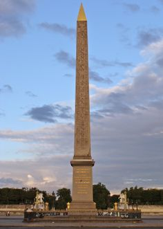 THE OBELISK OF LUXOR is an obelisk from behind the Luxor Temple in Egypt, built since 1836 in the center of the Place de la Concorde in Paris. is Mohammed Ali, viceroy of Egypt, as a sign of good agreement, at the instigation of Baron Taylor and Jean-François Champollion, offers and Charles X of France at the beginning of 1830 an obelisk erected in front of the temple of Luxor, he was shot and transported to France..........SOURCE WIKIPEDIA.ORG...........