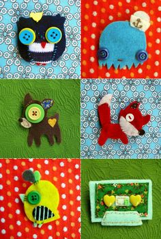 Combining felt, fabric, vintage buttons