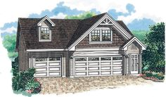 Eplans Garage Plan: Shingles and craftsman elements adorn the exterior of this appealing plan. A three-car garage fills the lower level, while a roomy apartment resides above. The 676 square feet of living space includes an 3 Car Garage Plans, Garage Apartment Plans, Garage Apartments, Garage Ideas, Garage Loft, Garage Storage, Cottage Style House Plans, Cottage Style Homes, Garage Design