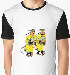 Hilarious fan recreation of the scene when Thomson and Thompson try to blend in the crowd by sporting these costumes. Bound to bring a laugh, this Tee. #tintin #comics #comicbooks ---thomson-thompson-chinese-costume-t-shirt