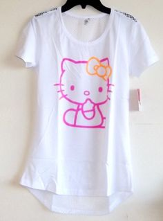 Hello Kitty Women's Back Mesh Cover-up Shirt in White (Womens-SMALL) » Pink Hello Kitty » Shop Hello Kitty — All your Hello Kitty Products Here!