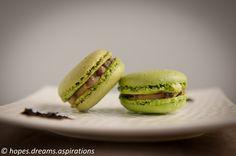 Matcha green tea macarons with red bean filling