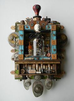 """⌼ Artistic Assemblages ⌼ Mixed Media & Collage Art - """"Salvaged Sanctuary"""" -Recycled Art Assemblage Shadow Box -   jen-hardwick.com"""