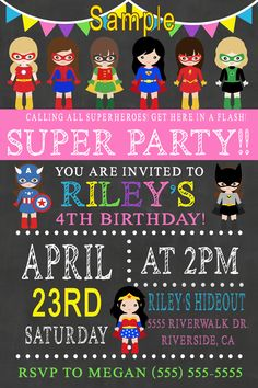 Girls Superhero Birthday Invitation, Click on the image twice to place orders or follow me on facebook. or email me at the address in BIO.