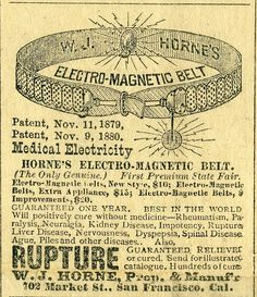 1881 advertisement for a magnetic belt in the Esmeralda [Nevada] Herald. MS 141.