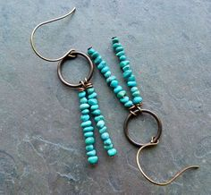 Turquoise nuggets  Brass findings- Vintaj Brass Co.    Jewelry comes gift boxed and ships quickly