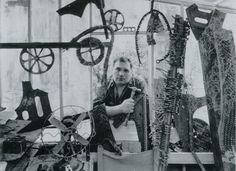 Eduardo Paolozzi in his studio