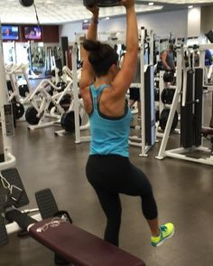 Insanely challenging pistol squat variation- overhead weight. If you're looking to fire up your glutes, I highly recommend trying this out. If you're just starting out, do this with no weight and then start with a 5 pound plate
