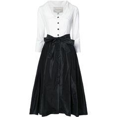 Carolina Herrera monochrome shirt dress (35.876.520 IDR) ❤ liked on Polyvore featuring dresses, white, white flared skirt, long sleeve dress, t-shirt dresses, long-sleeve midi dresses and midi dress