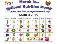 Eat one NEW fruit or veggie each day for the month of March! Ready, go!