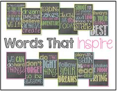 words that inspire posters....cute