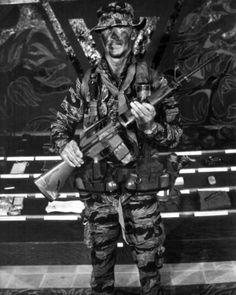 A sergeant displays standard LRRP uniform and gear during Recondo School, 1969.