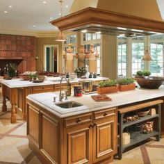 It's huge, and combines a family room style visiting area with a large functional kitchen. The best part: it has a separate pizza kitchen! - Love this kitchen Family Kitchen, Kitchen And Bath, Kitchen Decor, Family Room, Open Kitchen, Kitchen Ideas, Pizza Kitchen, Kitchen Island, Kitchen Trends