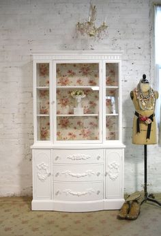 Painted Cottage Chic Shabby White Romantic French China Cabinet [CC665] - $495.00 : The Painted Cottage, Vintage Painted Furniture