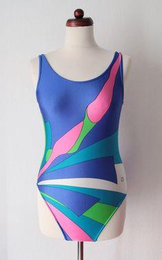 Vintage Swimsuit  Blue & Pink Swimsuit von PaperdollVintageShop, €19.90