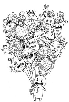 Doodle Art Coloring Pages from Adult Coloring Pages category. Find out more cool pics to color for your children Doodle Monster, Doodle Art Drawing, Art Drawings, Doodle Doodle, Coloring Book Pages, Coloring Pages For Kids, Doodles Kawaii, Doodles Bonitos, Doodle Coloring