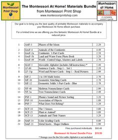 Montessori At Home Printable Materials List for Montessori Learning at home and school.