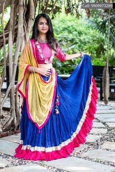 7e56a959c2 Beautiful colour Intricate work Blue Cotton Silk Embroidered Lehenga  #navratriStyle Garba Dress