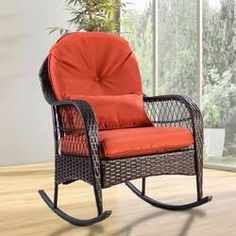 This rattan rocking chair will be a great addition to any outdoor living areas such as your patio, garden, etc. Outdoor Wicker Rocking Chair W/ Cushion. Rattan rocking chair, comfortable for relaxing. Outdoor Rocking Chairs, Patio Furniture Cushions, Patio Chairs, Outdoor Furniture, Furniture Sets, Patio Cushions, Furniture Stores, Cheap Furniture, Gardens