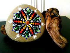 Large Beach Stone Hand Painted ~ Rainbow Dot Art Painted Rock w/ Driftwood Stand ~ Mandala Flower ~ Unique Home Decor Ornaments ~ Gift Ideas
