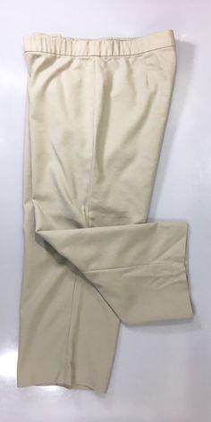 J JILL Womens Cropped Casual Pants Size 16 / Beige Straight Leg Stretch Trouser #JJill #CaprisCropped