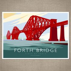 Iconic Scotland the Forth Rail Bridge on the Firth of Forth by Peter McDermott. An eye-catching Open Edition Giclee Art Print from British Rail, British Isles, Railway Posters, Kunst Poster, Photography Gifts, Vintage Travel Posters, Poster Vintage, World Heritage Sites, Canvas Art Prints