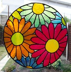 Gerber Daisies Static Window Cling hand painted gerber daisies window clings window art stained glass effects suncatchers decals [] - : Zen Cart!, The Art of E-commerce Stained Glass Flowers, Faux Stained Glass, Stained Glass Designs, Stained Glass Panels, Stained Glass Projects, Stained Glass Patterns, Window Clings, Window Art, Mosaic Art