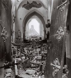 The ruins of a French church, Saint-Lô., France - June/July, 1944 (Photo by Robert Capa.)