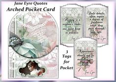 Printable Jane Austen Quotes Arched Panel Card with Tags