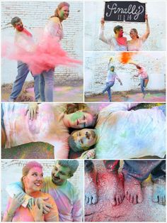 We're so in love with all this color! Color Chalk fight engagement photos