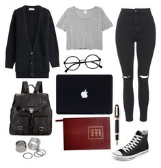 """""""Fall writer"""" by draegan on Polyvore featuring Topshop, Closed, Monki, Retrò, Pieces, Converse, Proenza Schouler, Sloane Stationery and Montegrappa"""