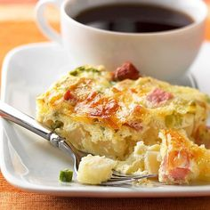 Farmer's Casserole.  At less than 300 calories per serving, this egg dish makes it easy to stick to any diet. Let it bake while you set the table and put on the coffee.