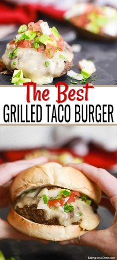 Grilled Taco Burger - Mexican taco burgers recipe (Keto Friendly)- Grilled Taco Burger is a tasty twist on a traditional burger with lots of Mexican flavor, pico de gallo and melted cheese. Try Grilled Taco Burger Recipe. Burger Recipes, Grilling Recipes, Gourmet Recipes, Mexican Food Recipes, Gourmet Burgers, Meal Recipes, Mexican Burger, Taco Burger, Homemade Hamburger Patties