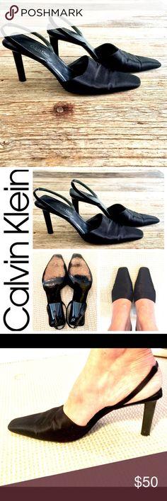 Calvin Klein black satin sling back heels size 8M Calvin Klein black satin sling back heels size 8M Calvin Klein Shoes Heels