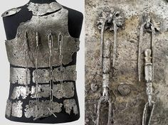 European coat of plates (fragments), detail view, 14th c, from the castle Hirschenstein near Passau, consisting of a chest plate with four weapon chains, 30 plates of body armor for the abdomen, sides, back and shoulders. Extremely rare armor type, preserved only in a few small fragments around the world. In particular, the breastplate with attached weapon chains was previously known only from early pictures and grave monuments.