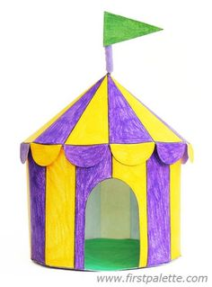 Color, cut out and assemble our printable circus tent templates into easy three-dimensional paper circus tents. Fun Crafts For Kids, Summer Crafts, Toddler Crafts, Preschool Crafts, Projects For Kids, Art For Kids, Arts And Crafts, Paper Crafts, Carnival Tent