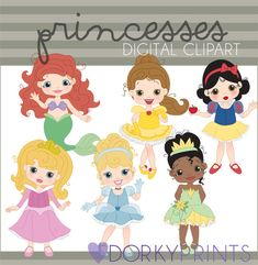 Inspired by Disney Princess Digital Clipart Set - Arial, Belle, Snow White, Sleeping Beauty, Cinderella, and Tiana.